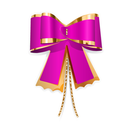 Pink and gold bow with laces  Decoration for a gift  Vector
