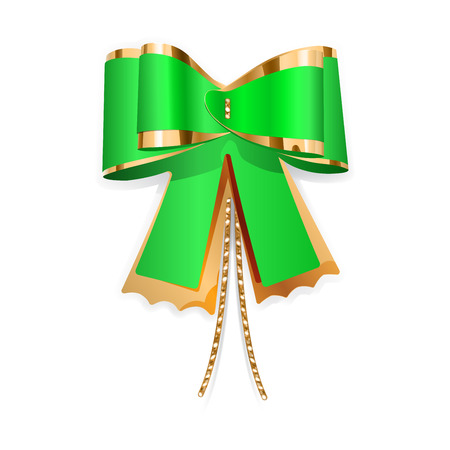 Green and gold bow with laces  Decoration for a gift  Vector