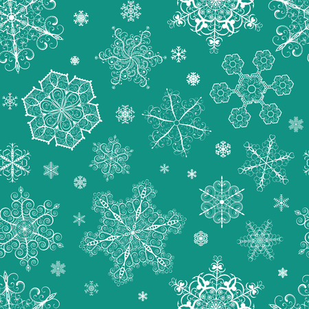 Christmas seamless pattern from big and small white snowflakes on green-blue background Vector