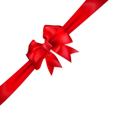 diagonally: Red bow with diagonally ribbon with cut edges Illustration