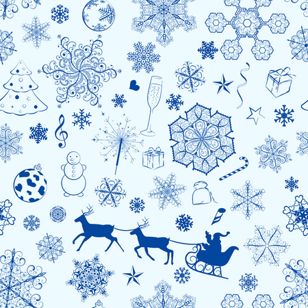 Christmas seamless pattern with blue snowflakes and xmas symbols Vector