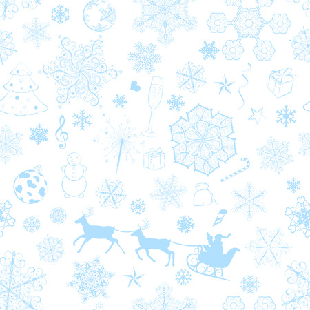 Christmas seamless pattern with light blue snowflakes and xmas symbols Vector