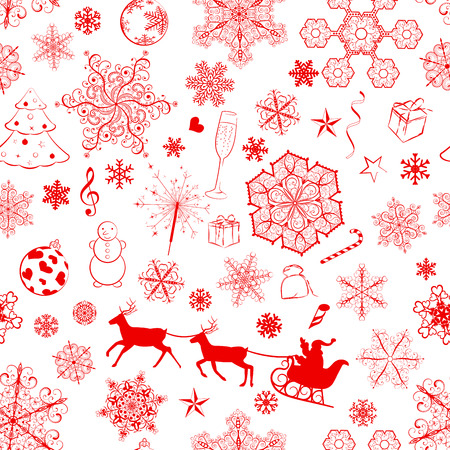 Christmas seamless pattern with red snowflakes and xmas symbols Vector