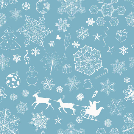 Christmas seamless pattern with snowflakes and xmas symbols on turquoise background Vector