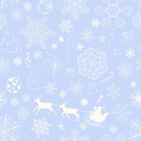 Christmas seamless pattern with snowflakes and xmas symbols on violet background Vector
