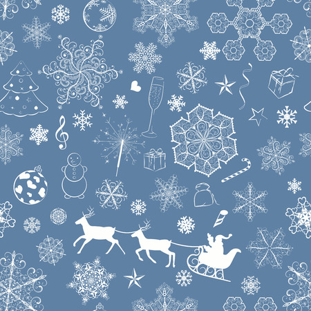 Christmas seamless pattern with snowflakes and xmas symbols on dark blue background Vector