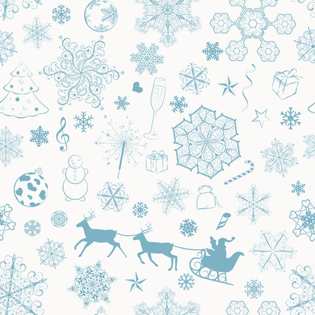 Christmas seamless pattern with turquoise snowflakes and xmas symbols Vector