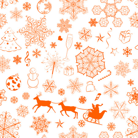 Christmas seamless pattern with orange snowflakes and xmas symbols Vector