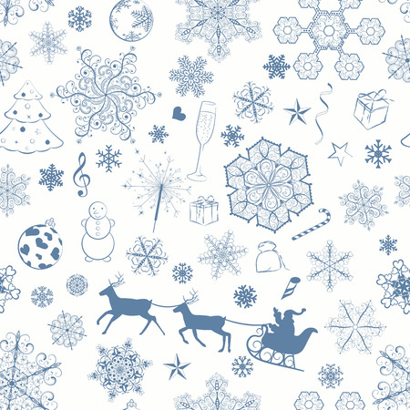 Christmas seamless pattern with dark blue snowflakes and xmas symbols Vector