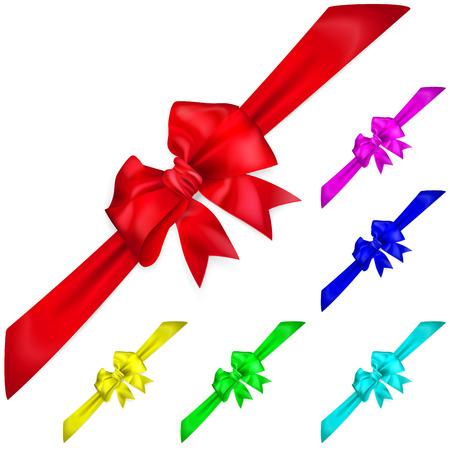 diagonally: Set of multicolored bows with diagonally ribbons
