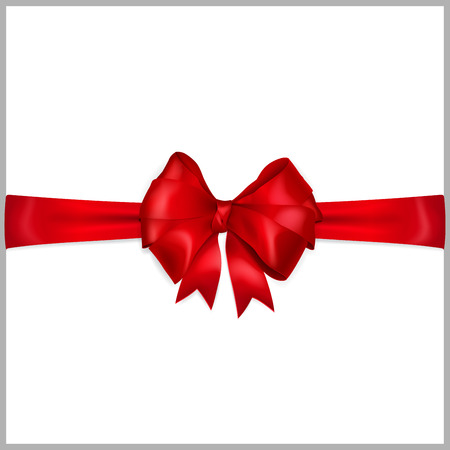 Bow of red wide ribbon with horizontal ribbons