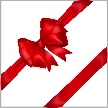 diagonally: Bow of red wide ribbon with diagonally ribbons