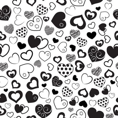 pattern: Naadloos patroon van verschillende harten, zwart op wit