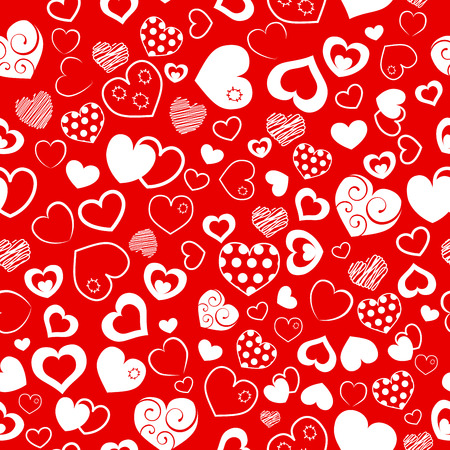 Seamless pattern of various hearts, white on red