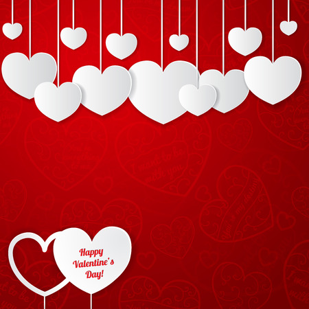 Red card for Valentines Day with white paper hearts Vector