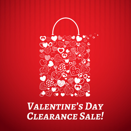 Shopping bag made of hearts on red striped background. For Valentines day.