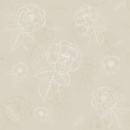 Seamless pattern of roses with leafs in light brown colors Vector