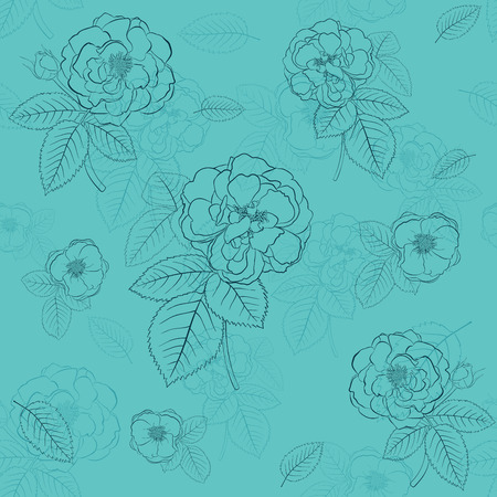 Seamless pattern of roses with leafs, black on turquoise Vector