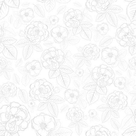 Seamless pattern of roses with leafs, gray on white Vector
