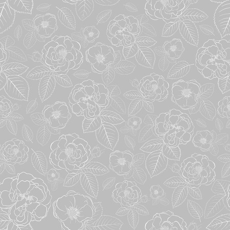 Seamless pattern of roses with leafs, white on gray Vector