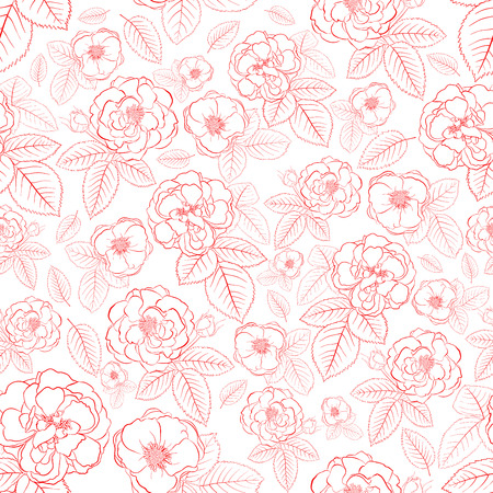 Seamless pattern of roses with leafs, red on white Vector