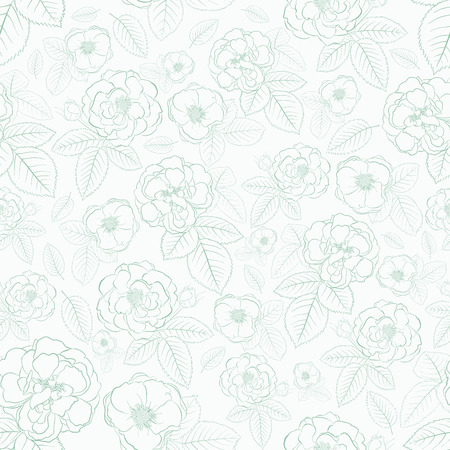 Seamless pattern of roses with leafs, turquoise on white Vector