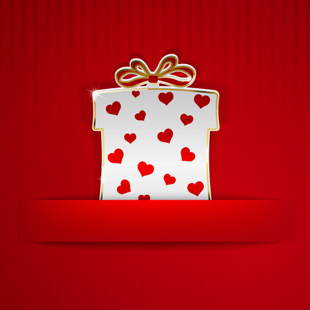 Gift box cut out of white paper with red hearts on red striped background Vector