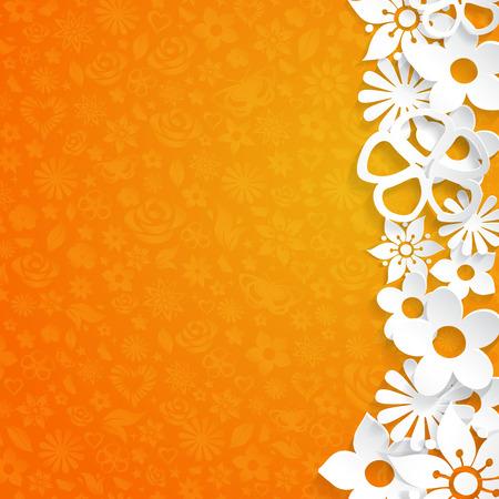 orange cut: Fondo naranja con flores recortadas de papel blanco