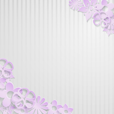 White striped with violet flowers cut out of paper Vector