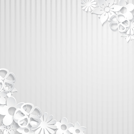 White striped with white flowers cut out of paper Vector
