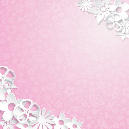 Pink floral with white flowers cut out of paper Vector