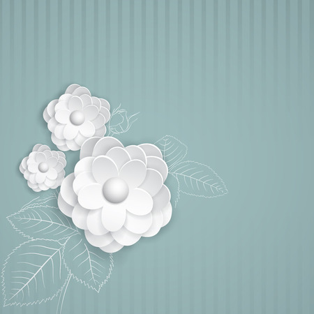 Turquoise striped with white paper flowers Vector