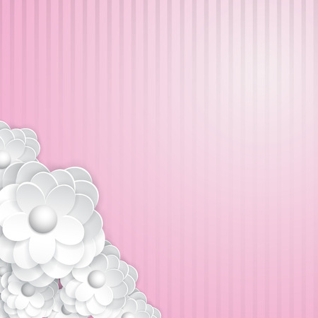 Pink striped with white paper flowers Vector