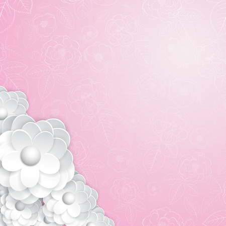 Pink floral with white paper flowers Vector
