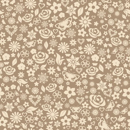 Seamless pattern of flowers, leafs, stars, butterflies and hearts. Beige on brown. Vector