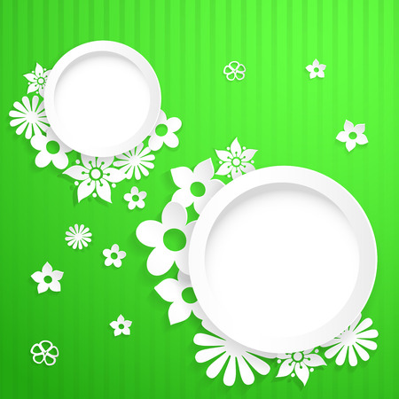 Green background with white circles and flowers cut out of paper Vector