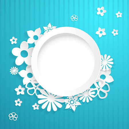 Light blue background with white circle and flowers cut out of paper Vector