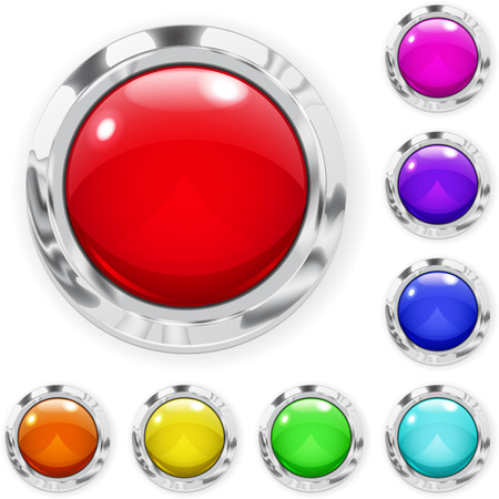 Set of realistic multicolored big buttons made of glass with metallic borders Vector
