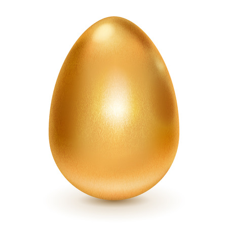Realistic golden egg with shadow on white
