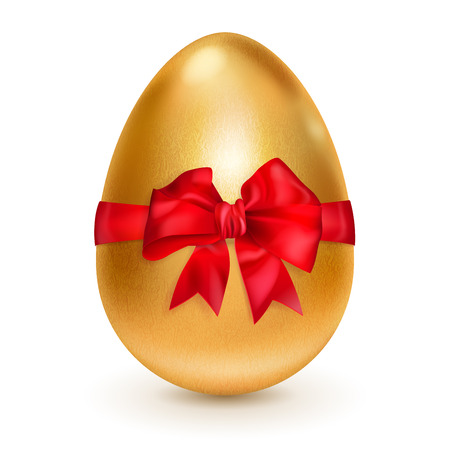 Realistic golden egg tied a red ribbon with a bow. With shadow on white  Vector