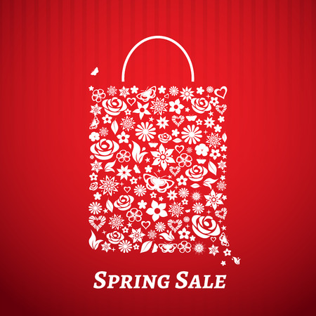 Shopping bag made of flowers on red striped. For Spring Sale Vector
