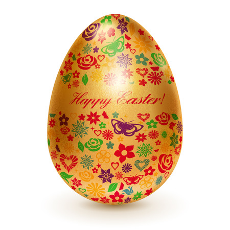 Realistic golden egg with a pattern of flowers, leaves and butterflies  With shadow on white background Vector