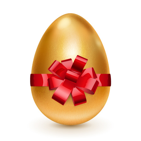 Realistic golden egg tied a red ribbon with a bow  With shadow on white background Vector
