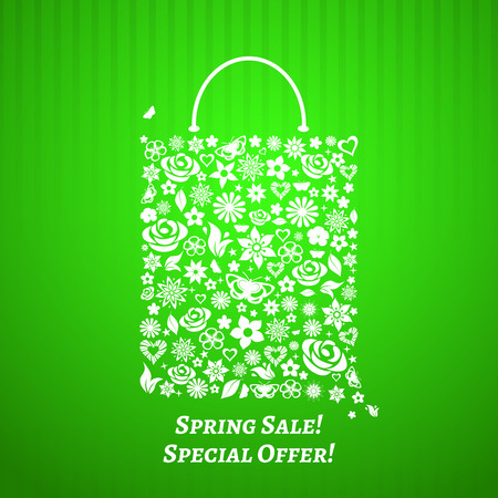 Shopping bag made of white flowers on green striped background  For Spring Sale Vector
