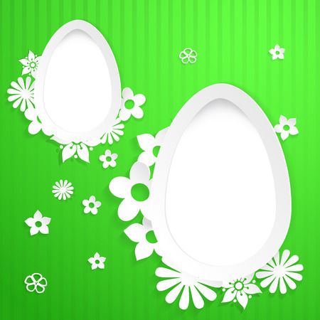 Green background with white eggs and flowers cut out of paper Vector