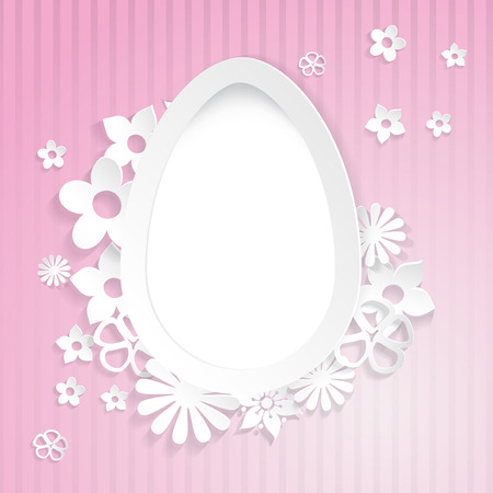 Pink background with white egg and flowers cut out of paper Vector