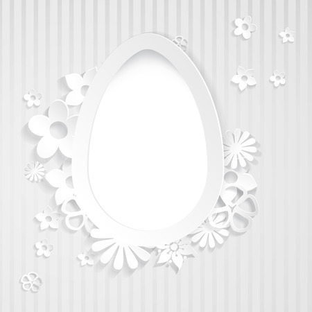 Gray background with white egg and flowers cut out of paper Vector