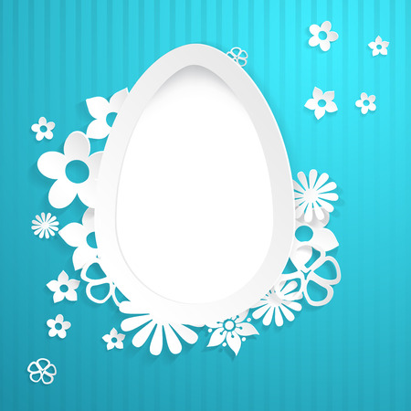Blue background with white egg and flowers cut out of paper Vector
