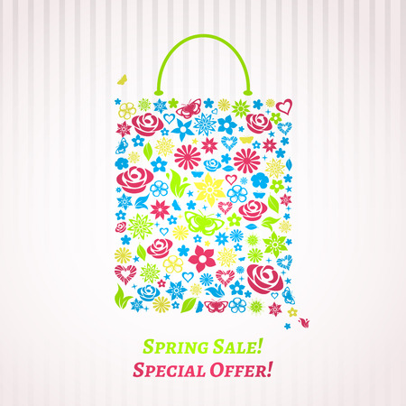 Shopping bag for Spring Sale consisting of multicolored flowers, leaves and butterflies Vector