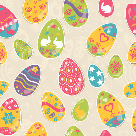 Seamless multicolored pattern of Easter eggs with ornaments Vector